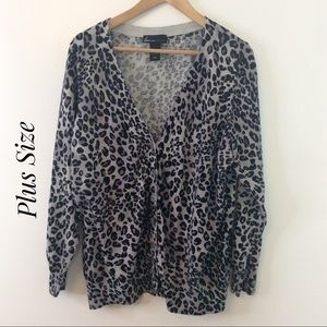 Lane Bryant-Gray & Black Animal Print Sweater Top